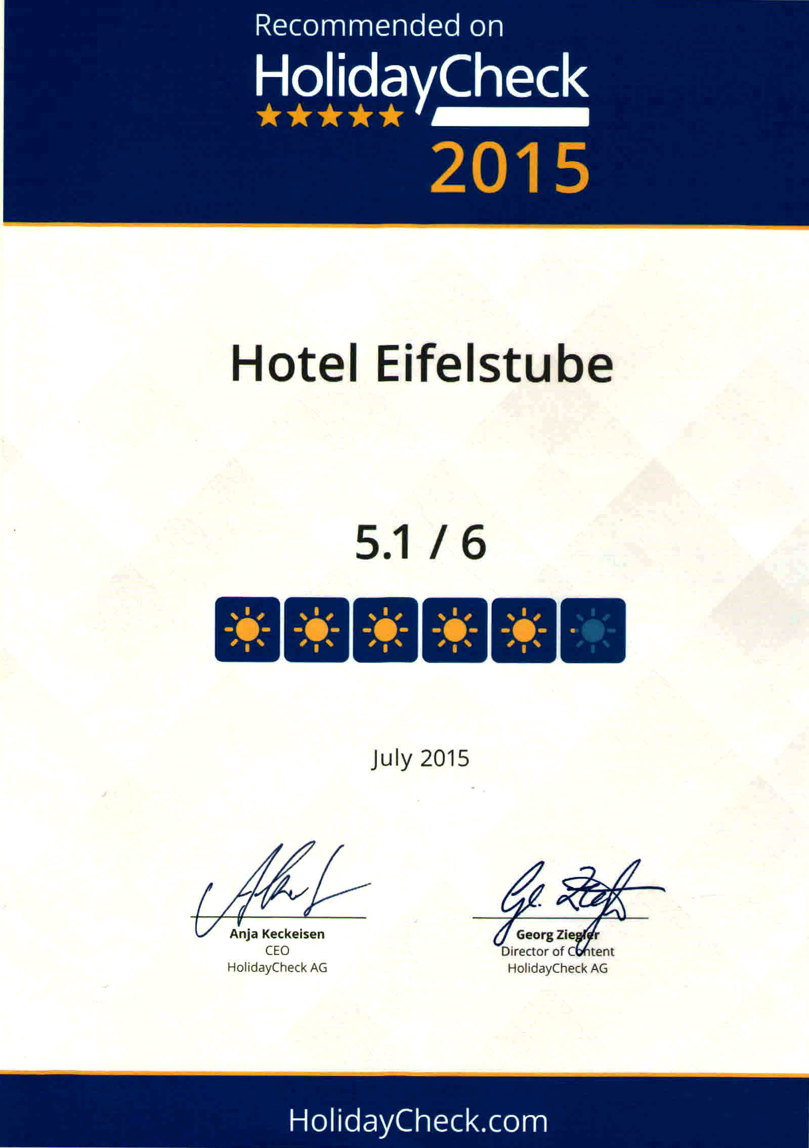 Eifelstube Bewertungen Reviews Holiday Check Auszeichnungen Awards Hotel Restaurant