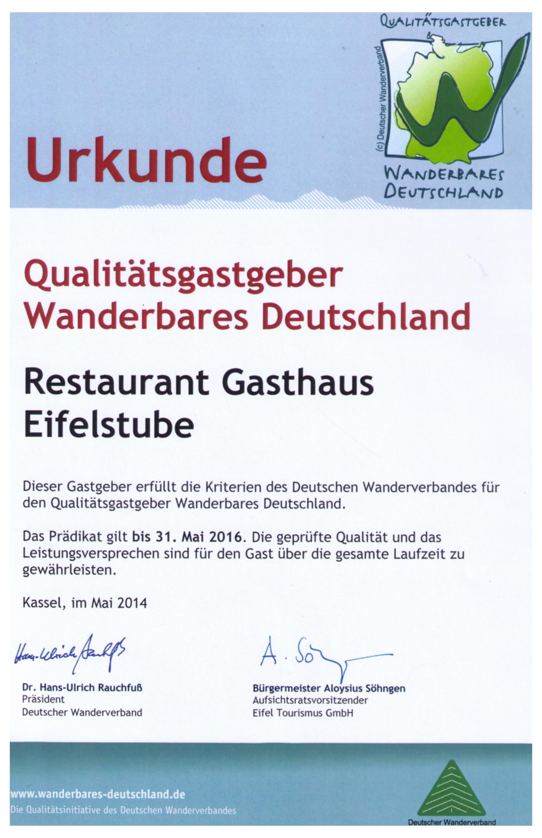 Eifelstube Bewertungen Reviews Auszeichnungen Awards Hotel Restaurant HRS Booking.com Trivago Tripadvisor Wanderbares Deutschland