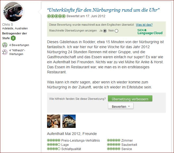 Bewertung Reviews Eifelstube.com